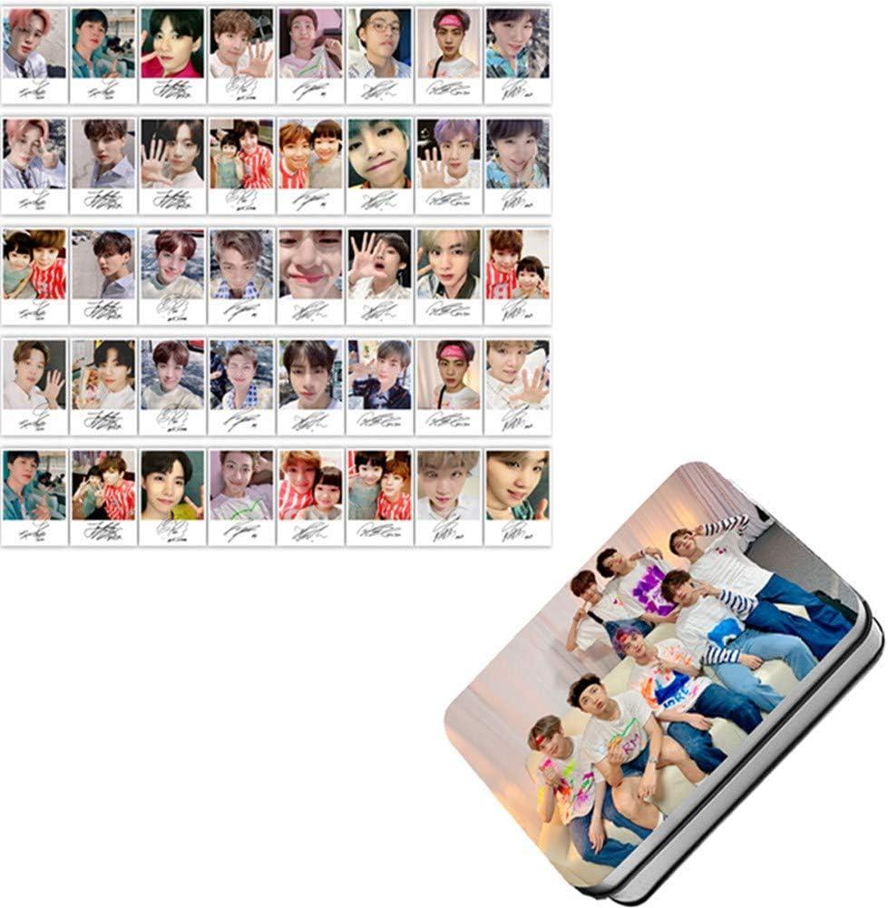 40 Unidades en Caja de Hierro Tiyila Juego de 40 Tarjetas de Fotos KPOP BTS Lomo Jungkook Jimin V