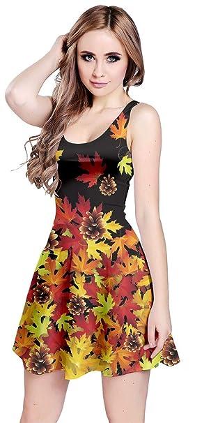 6ec78360828 CowCow Womens Black Autumn Maple Leaves Seeds Sleeveless Skater Dress - XS