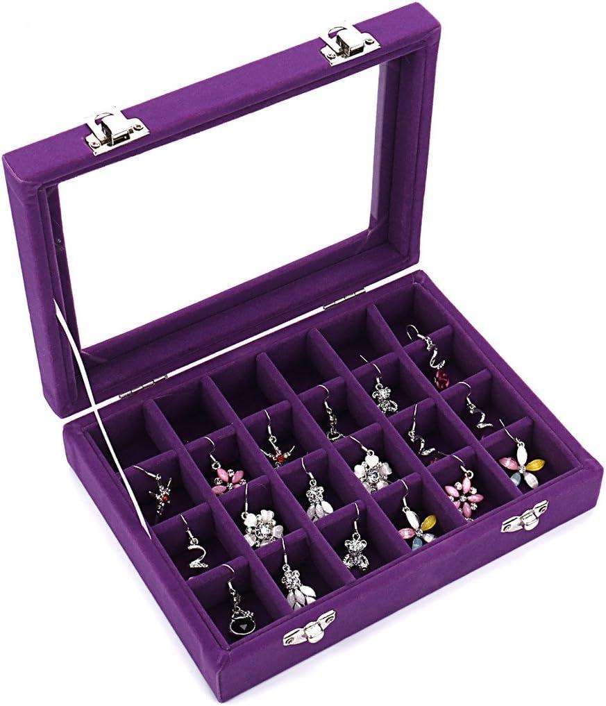 Caja organizadora Ivosmart con 24 secciones de terciopelo y tapa de vidrio para guardar joyas, con exhibidor de anillos o bandeja para aretes., 24 Section (Purple)