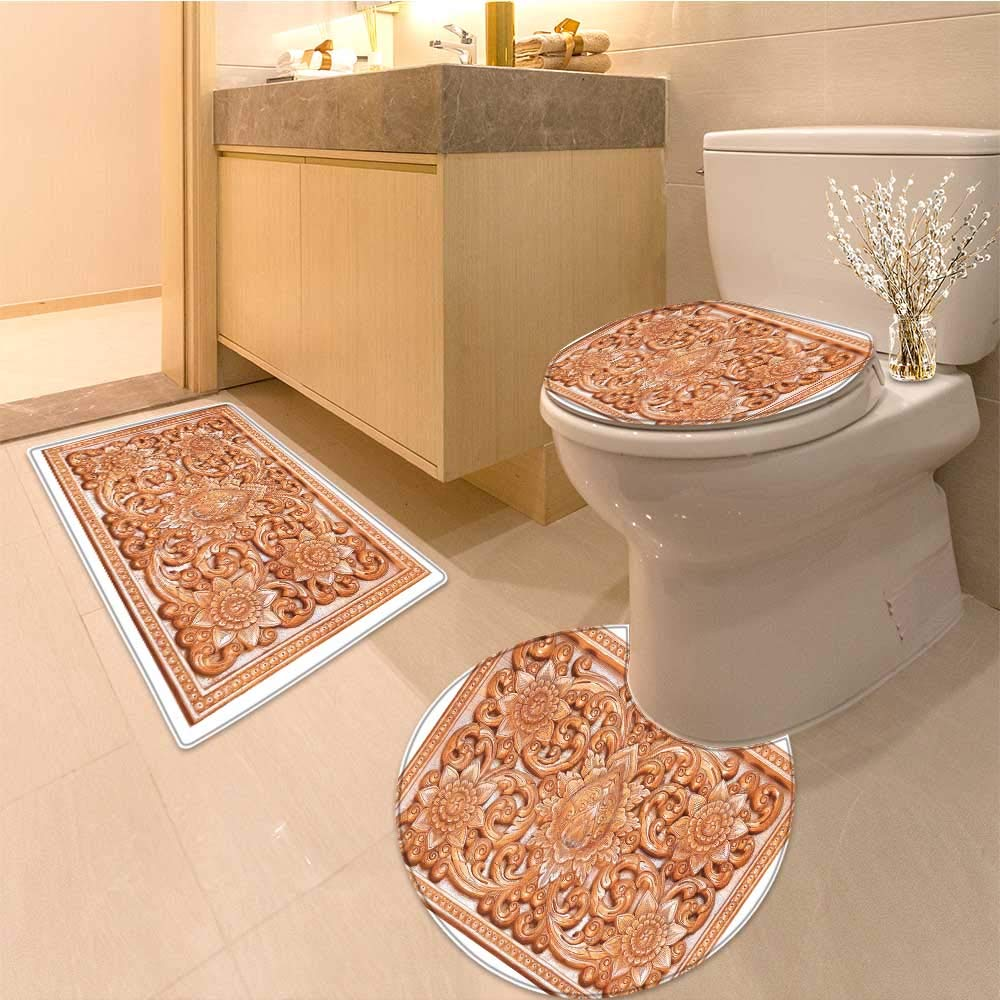 Miki Da Non-slip Bath Toilet Mat wooden thai style craving on wall roof in temple High Absorbency