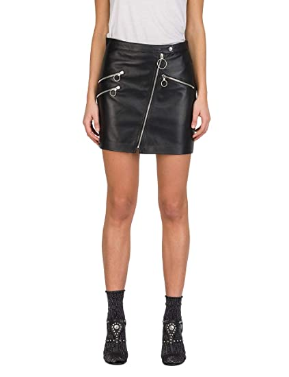 63711cfc5 Replay Women's Leather Mini Skirt Black in Size Small: Amazon.co.uk:  Clothing
