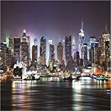 GIANT PHOTO WALLPAPER NEW YORK CITY BY NIGHT SKYLINE NY WALL MURAL 3.35 x 2.36m
