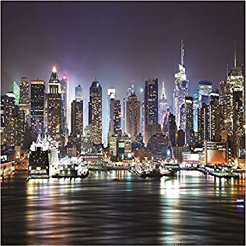 GIANT PHOTO WALLPAPER NEW YORK CITY BY NIGHT SKYLINE NY WALL MURAL 3.35 X  2.36m Part 52