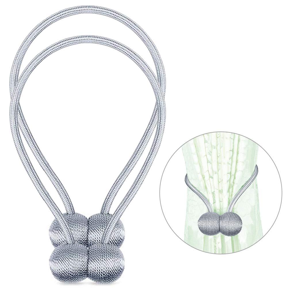 SANNOBEL Curtain Tiebacks Magnetic Decorative Drapery Holdbacks no Drilling Silver-Grey/2 Pack
