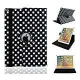 MeiLiio iPad Mini Case cover Wave Point Pattern 360 Degree Rotating with Anti-slip Groove Sleeve Folio Flip Protective Case Cover for Apple iPad mini/iPad mini 2/iPad mini 3 (Black)
