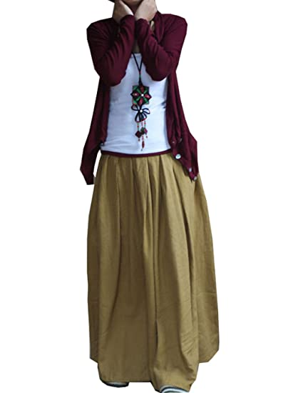 f5cc92bcffe Image Unavailable. Image not available for. Color  SUFEI Women s Linen Skirt  Long Skirts Plus Size Yellow