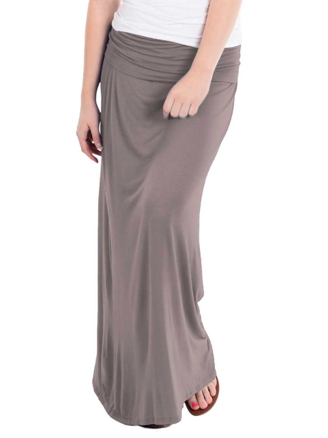 HyBrid & Company Women's Maxi Skirt W/Fold Over Waist Band KSK3097 Taupe 1X