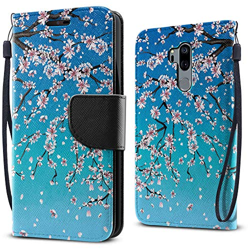 FINCIBO Case Compatible with LG G7 ThinQ G710 6.1 inch, Fashionable Flap Wallet Pouch Cover Case + Card Holder Kickstand for LG G7 ThinQ - Falling Cherry ()