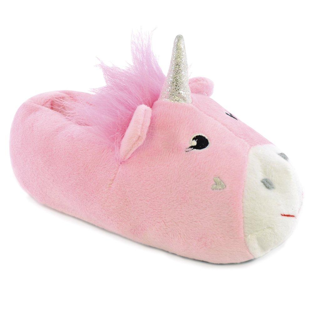 Warm Plush Fabric Girls Magic Unicorn Slippers