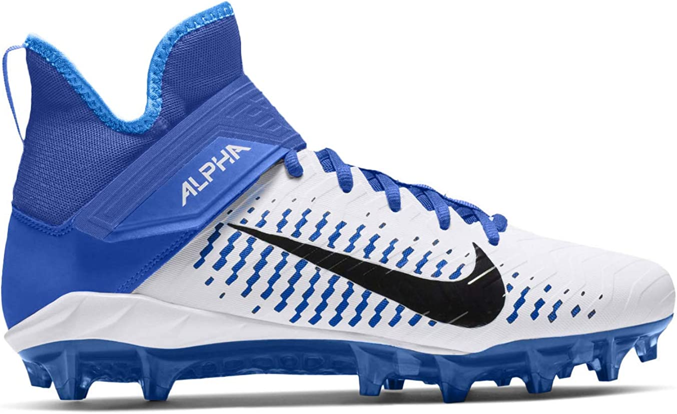 Nike Mens Alpha Menace Pro 2 Mid Football Cleat White//Black//Game Royal Size 10.5 M US