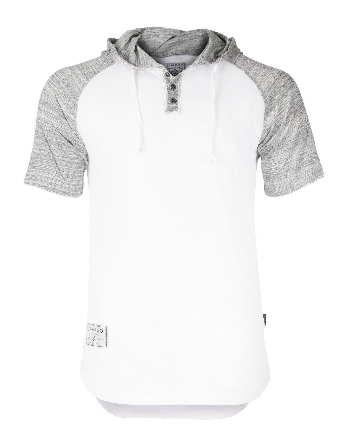 ZIMEGO Short Sleeve Raglan Henley Hoodie Round Bottom Semi Longline T-Shirt (XX-Large, White Fulfilled by