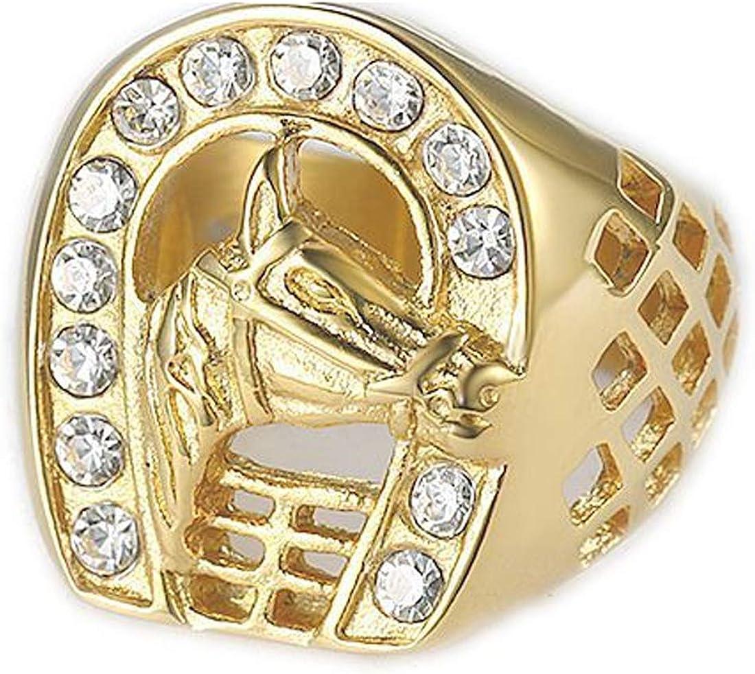 LIANNAO Hombre Anillos de Acero Inoxidable, Crista Chapado en Oro circonita Cabeza de Caballo Anillo,Dorado