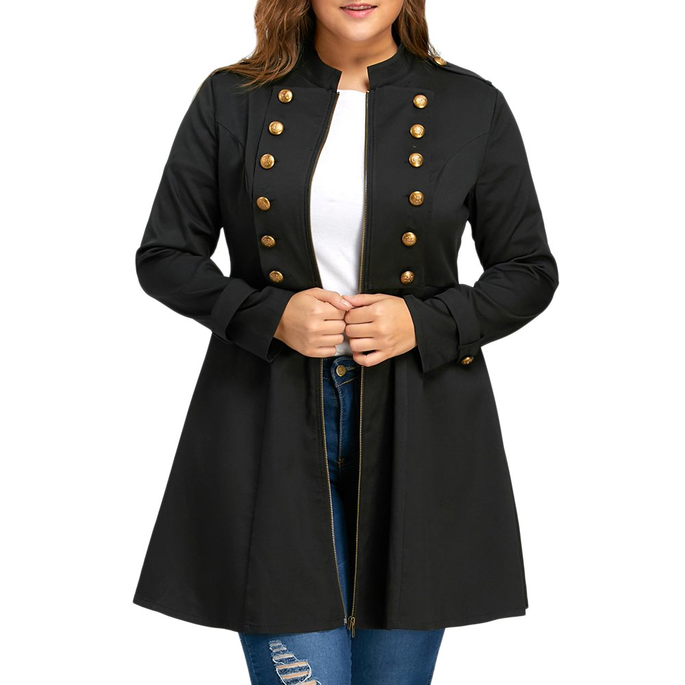 ZAFUL Women's Plus Size Coat Double Breasted Long Sleeve Jackets Trench Coats