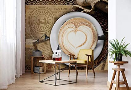 Wallpaper Coffee Heart London Cafe 3D Photo Wall Mural Wall ...