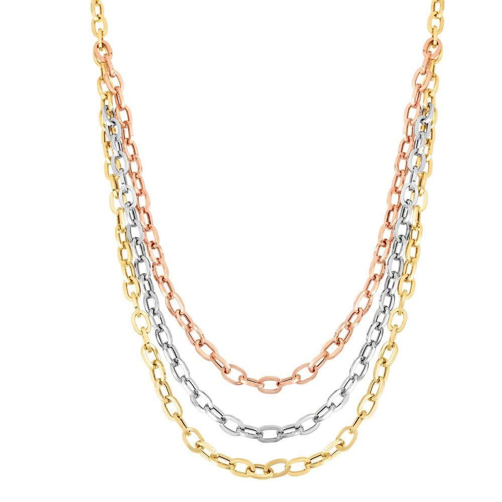 14 ct Gold Heritage Rosa gelb Weißszlig; 5–14,7 mm Glänzende Ovale Abgestufte Halskette Karabinerverschluss – 43 Centi
