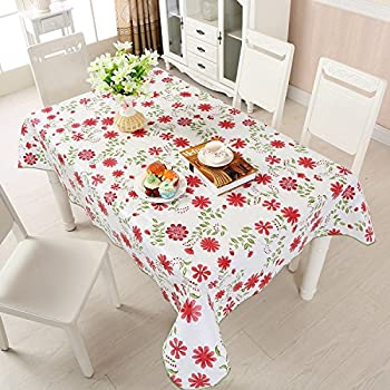 Uforme Red Blooming Floral Table Cloth Flannel Water Repellent  Environmentally Plastic Table Cloth Non Slip And Easy Care For Restaurant,  54 Inch By 72 Inch ...