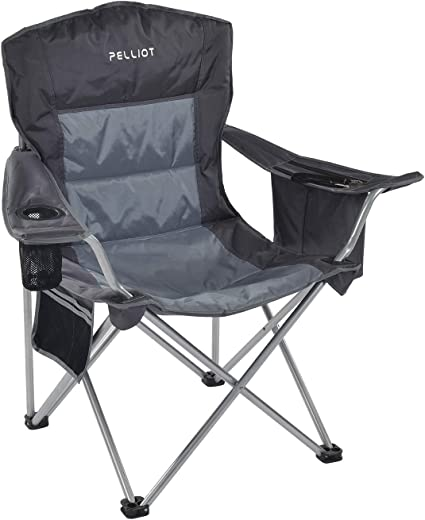 Folding Camping Chairs Padded Heavy Duty High Back Directors W//Cup Holder GREY