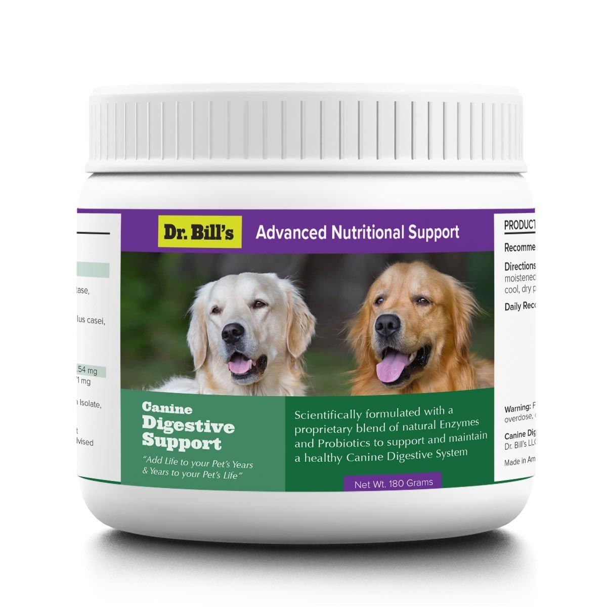 Dr. Bill's Canine Digestive Support | Probiotics for Dogs, with Natural Digestive Enzymes and Prebiotics | Includes Ginger Root, Lemon Balm, Psyllium Seed, Lactobacillus, Bifidobacterium | 180 Grams by Dr. Bill's