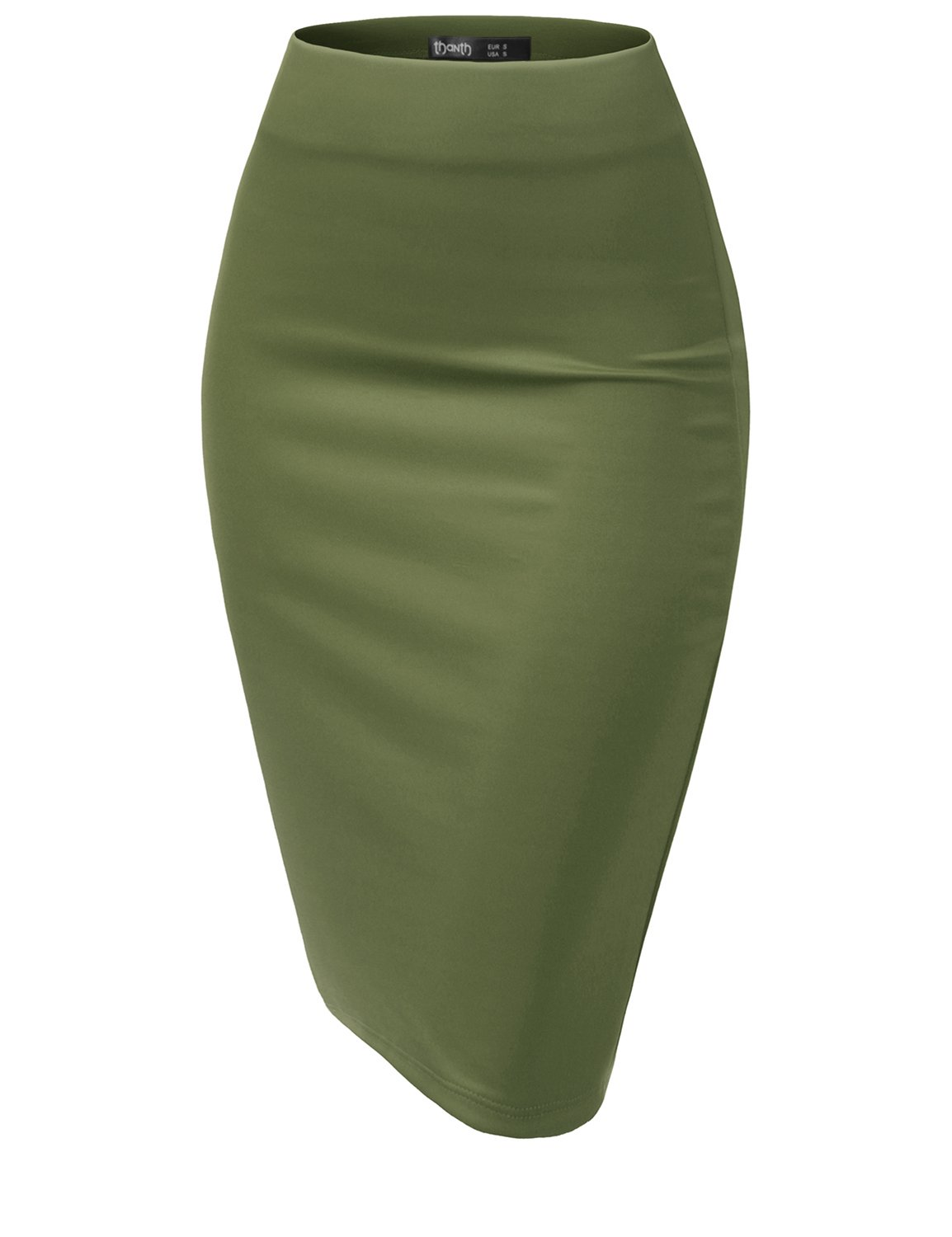 TWINTH Slim Fit Wear to Work Business Party Bodycon Plussize Pencil Skirts DarkGreen S