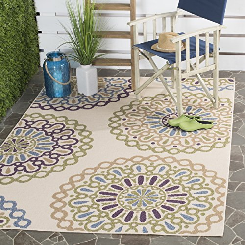 Safavieh Veranda Collection VER092-0514 Cream and Green Area Rug, 8 feet by 11 feet 2 inches (8' x 11'2