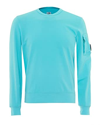 d06ec48dd36 C.P. Company Mens Arm Lens Badge Sweatshirt, Aqua Blue Jumper ...