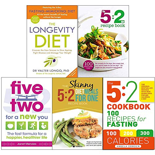 61wrKqH %2BQL - Longevity diet, 5 2 diet recipe book, five two for a new you, 5 2 diet meals for one and 5 2 cookbook 5 books collection set