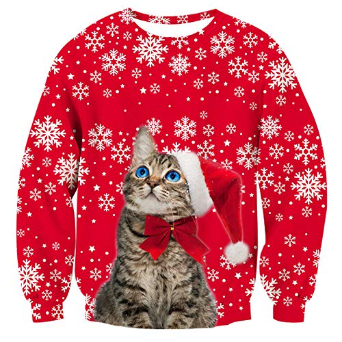 Goodstoworld Ugly Christmas Cat Sweater for Women Couples Christmas Red Sweatshirt -