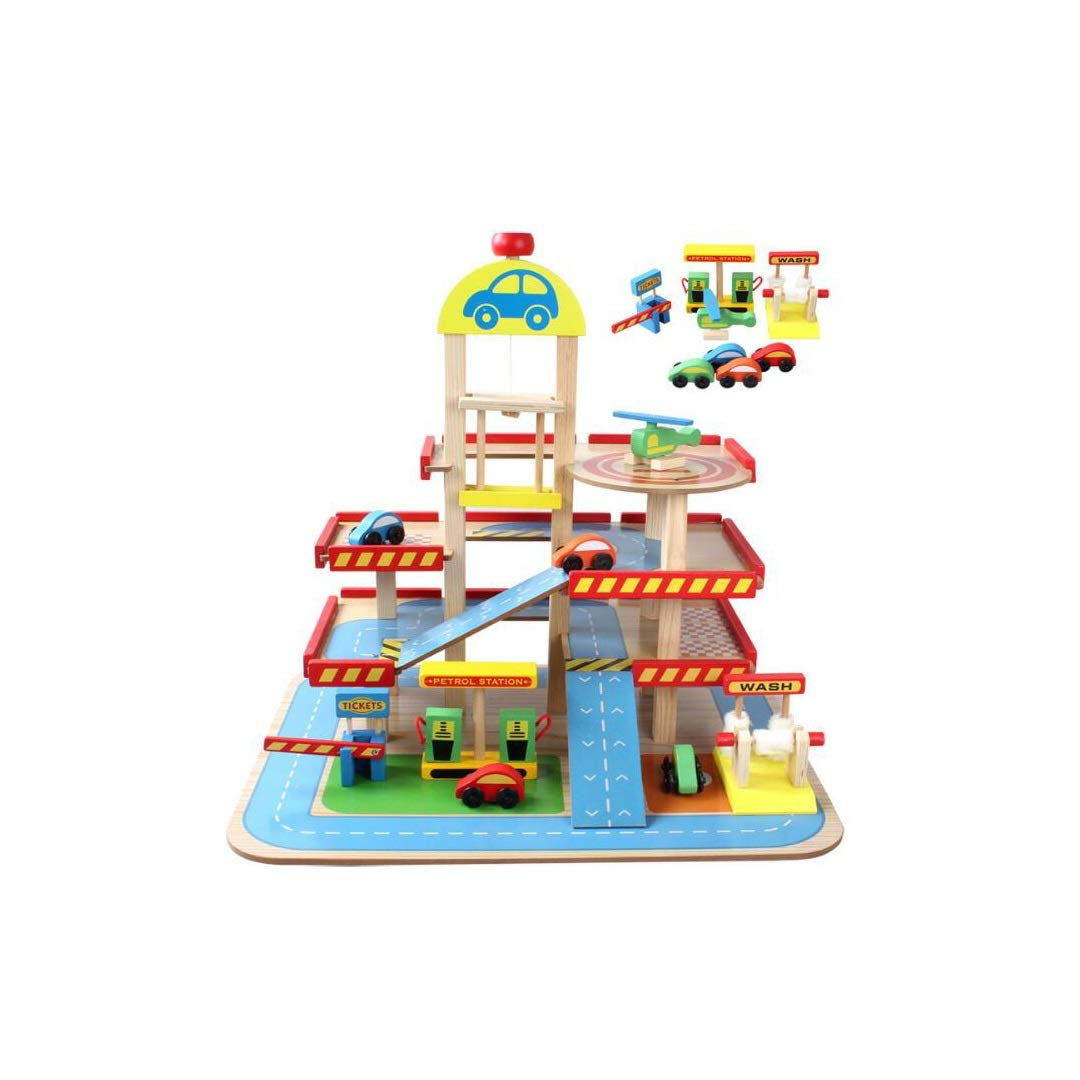 KTYXDE Children's Assembled Car Track Play House Toy Simulation Large Three-dimensional Three-layer Wooden Parking Lot Toy Set 40x50x47cm Children's educational toys