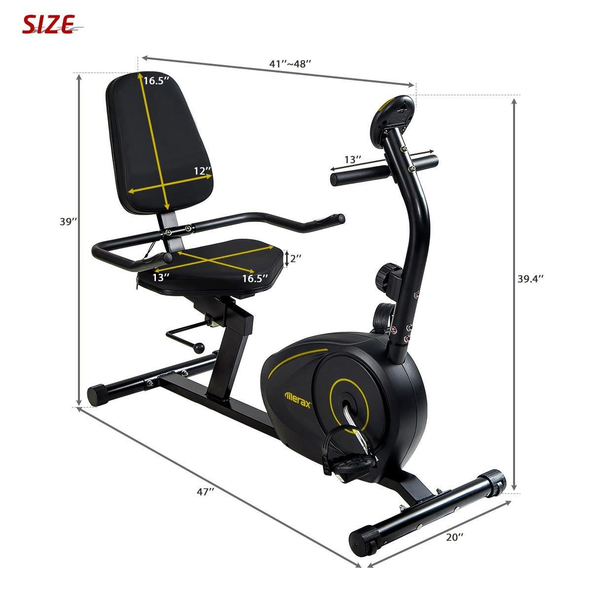 Merax Magnetic Recumbent Exercise Bike | 8-Level Resistance | Quick Adjust Seat (Black 2019) by Merax (Image #9)