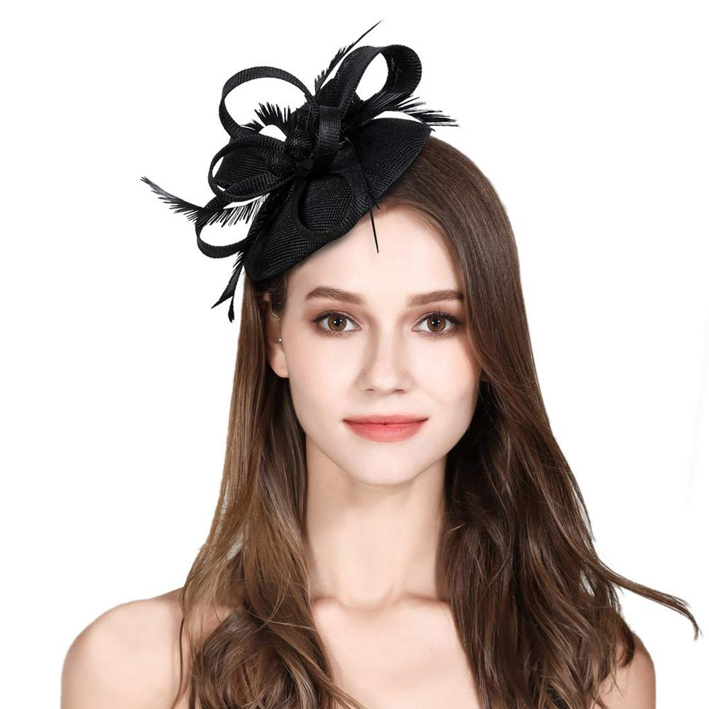 Fascinator Feather Fascinators for Women Pillbox Hat for Wedding Party Derby Royal Banquet