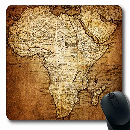 Ahawoso Mousepads for Computers Africa Old Vintage Map Science Cartography Antique Ancient World Antiquity Burnt Century Oblong Shape 7.9 x 9.5 Inches Non-Slip Oblong Gaming Mouse Pad