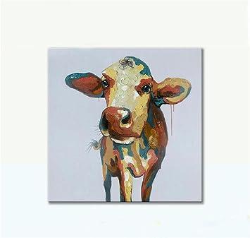 YCRD Malerei Der Modernen Kunst Handgemaltes ÖLgemäLde Kuh Abstrakt  Rahmenlose Leinwand Kinderzimmer Wohnzimmer Wandkunst Hintergrund Dekoration