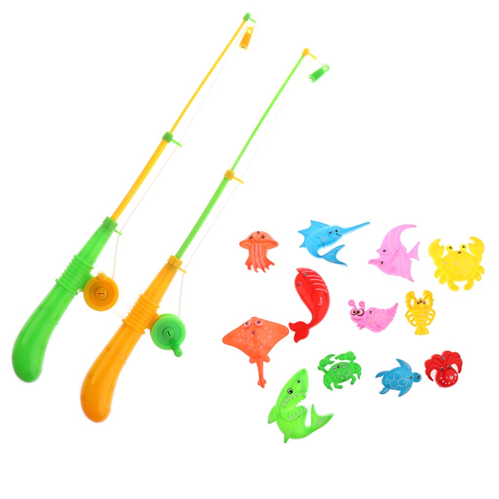 Dovewill Magnetic Fishing Game Toy Set Kids Toddler Bath Toys (12 Fishes & 2 Poles)