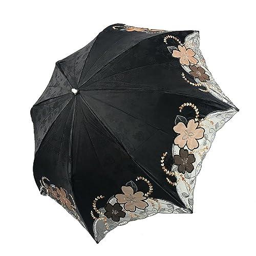 (エスティーエス)STS 日傘 UVカット 遮熱 ファッション 折り畳み 花刺繍 UPF50+ 傘ケース付 高品質 SY13004 Black