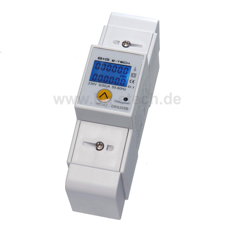 LCD digitaler Wechselstromzä hler Stromzä hler mit Tageszä hler 5(50)A fü r Hutschiene mit S0 Schnittstelle 1000imp./kWh B+G E-Tech
