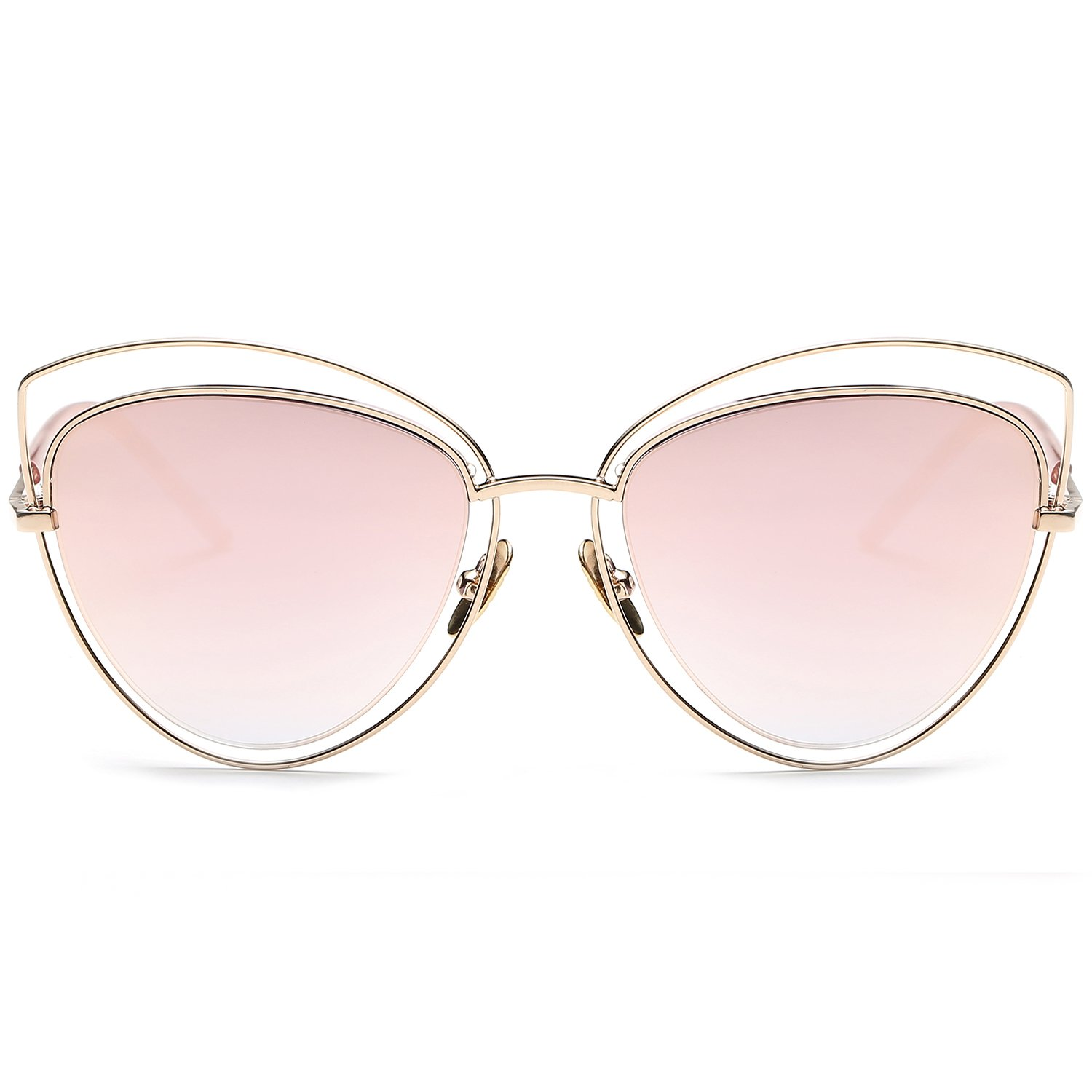 6f65ce816d SojoS Women s Double Wire Double Rimmed UV400 Cat Eye Sunglasses SJ1047  With Gold Frame Pink Lens