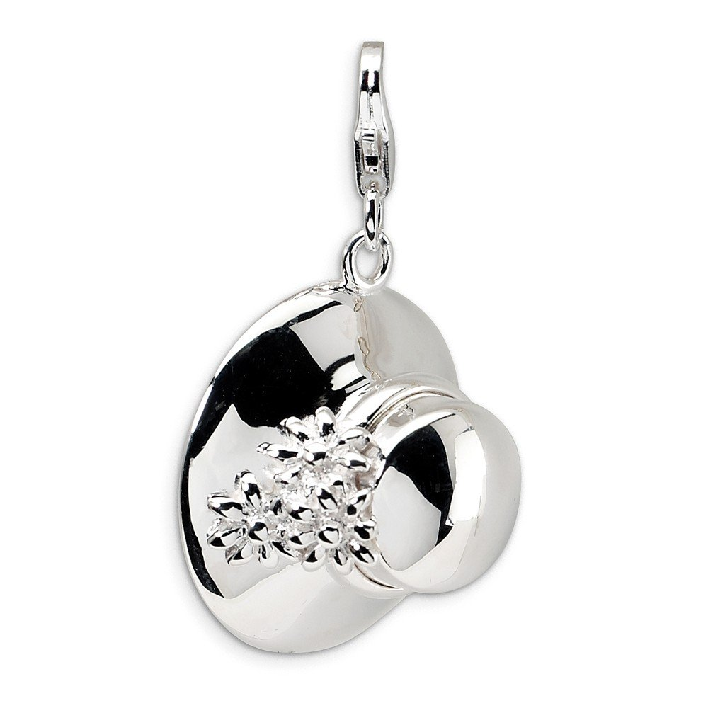Sterling Silver Polished Open bottom Rhodium-plated Fancy Lobster Closure 3-D Enameled Hat With Lobster Clasp Charm Measures 31x18mm