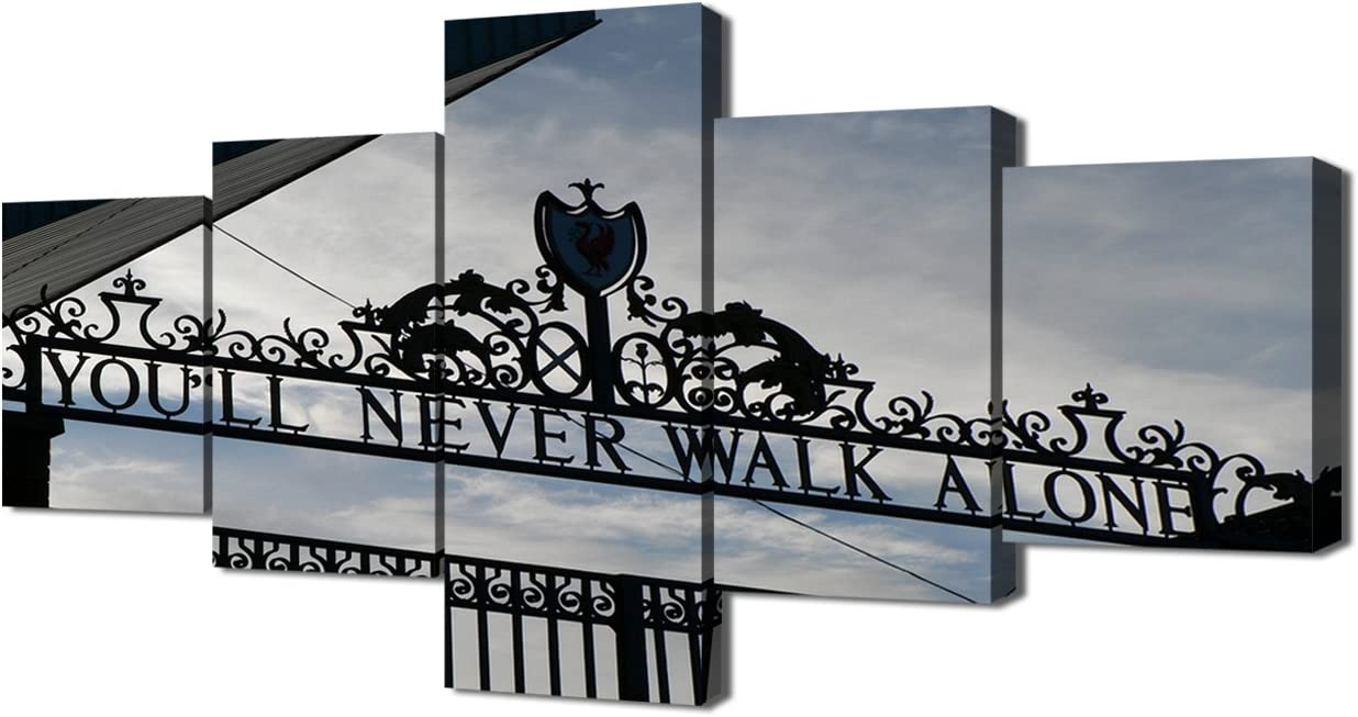 TUMOVO Black and White Wall Art 5 Piece Canvas You'll Never Walk Alone Paintings Liverpool FC Club Store Pictuers Home Decor for Living Room Artwork Framed Gallery-Wrapped Ready to Hang(50''Wx24''H)