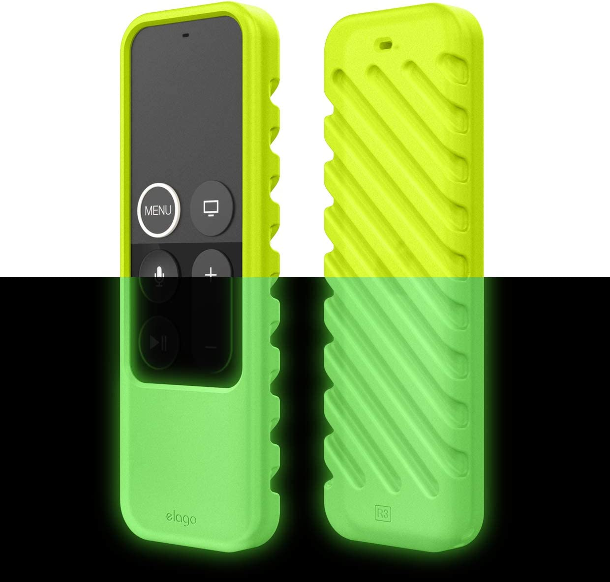 elago R3 Protective Case Compatible with Apple TV Siri Remote 4K (5th) / 4th Generation (Neon Yellow) - Extra Protection, Lanyard Included