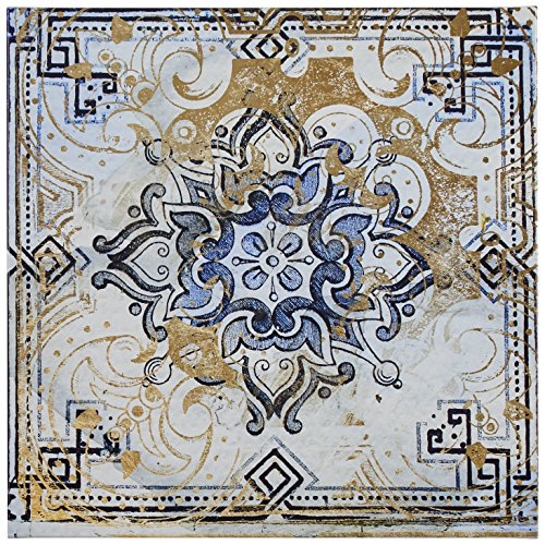 Contemporary Blue and Tan Moroccan Tile Print on Canvas