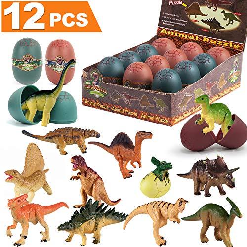 iGeeKid 12PCS Dinosaur Easter Eggs, Filled Easter Eggs with Toys 12 Different 3D Dinosaur Buliding Block Puzzles for Boys Kids Easter Party Favors, Easter Basket Stuffers Filler, Easter Egg Hunt