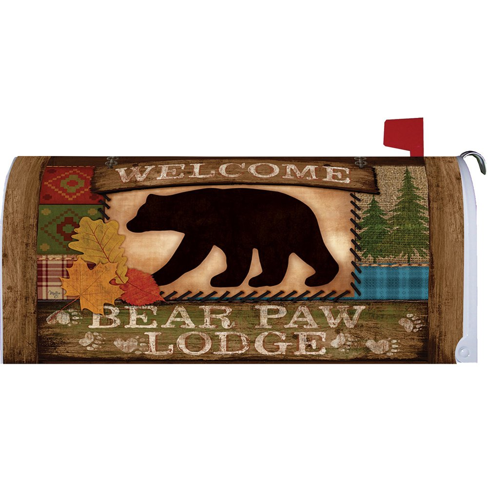 Home & Country Living Magnetic Mailbox Cover Wrap (Welcome Bear)