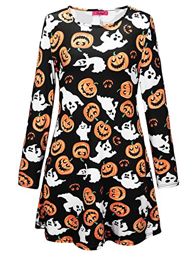 Fant Parade Robe me Longues Manches Halloween SIMYJOY pour Robe Party Femme Cocktail Noir Swing Costume and Pumpkin Patineuse wAnafqS