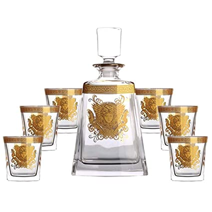 ZCXBHD Set De 7 Piezas - Whisky Licorera Sin Plomo Cristal Copa Vidrio Y Bodega Traje