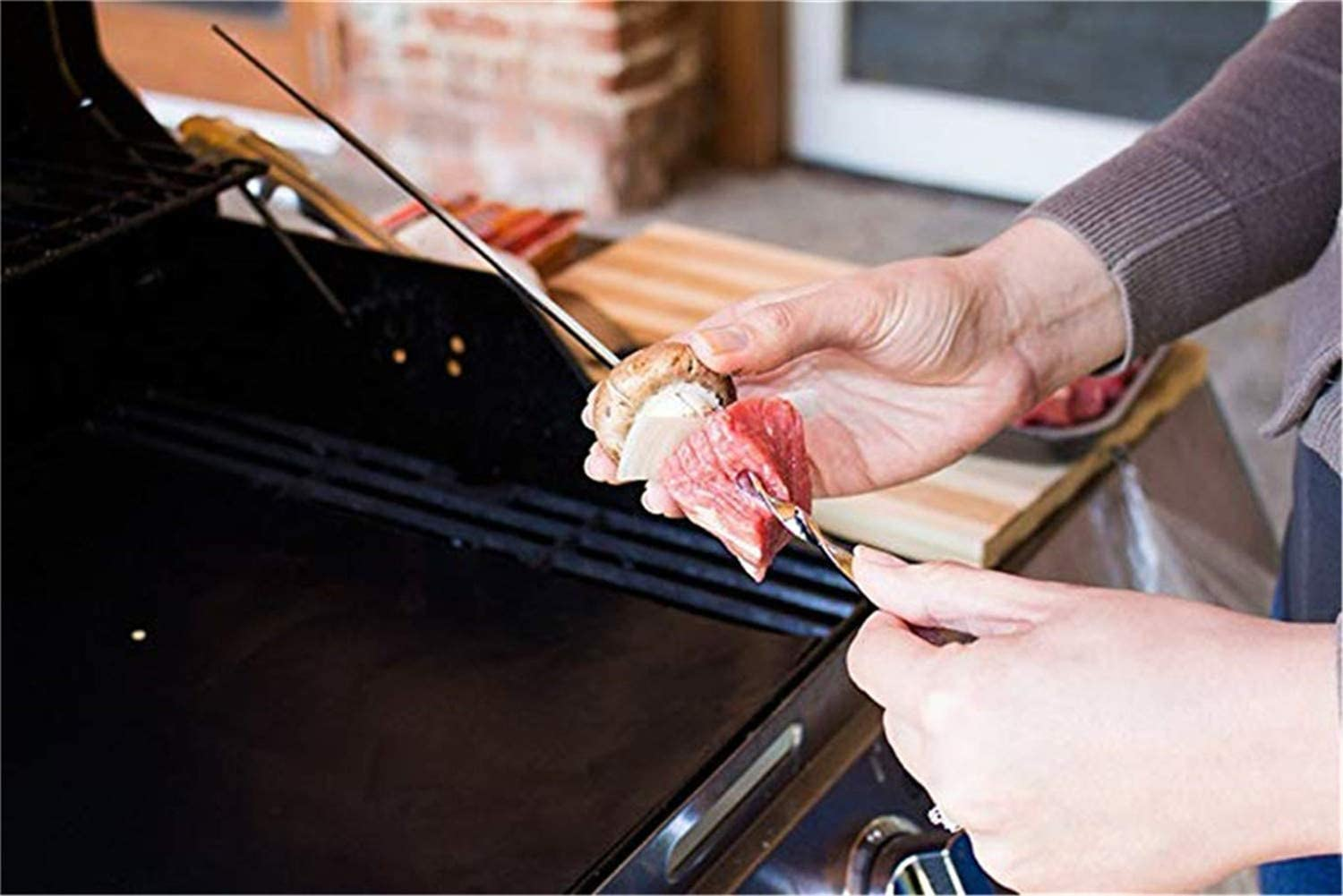 ZEEREE 10 pieces of 38 cm stainless steel barbecue skewers bbq stainless steel barbecue skewers can be reused kebab barbecue grill barbecue bar kebab barbecue