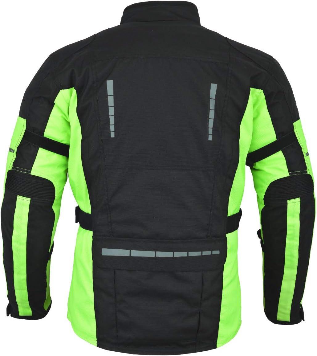 122-127 cm Full Black, 4XL Jet Black Fluro Chaqueta de moto textil impermeable con protecci/ón CE