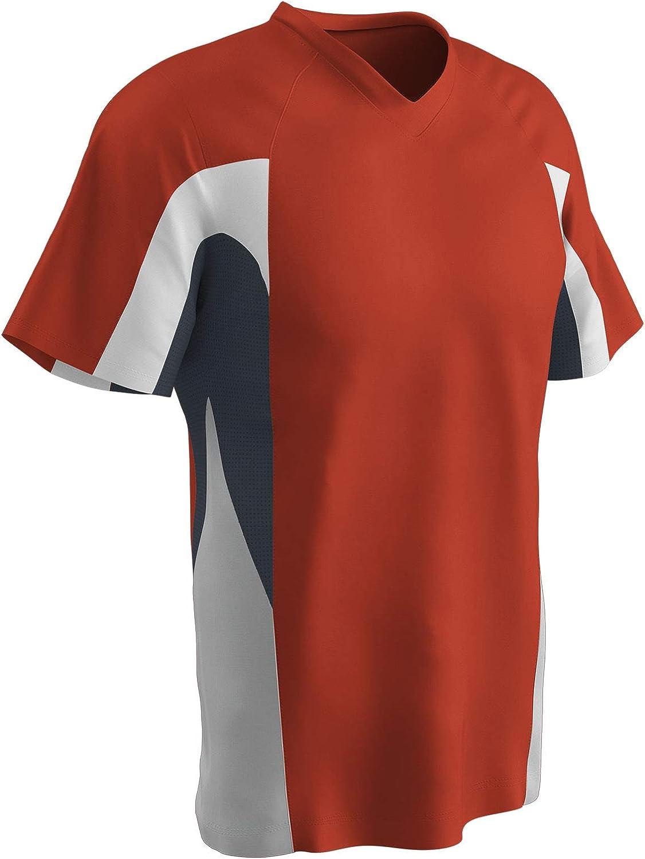 CHAMPRO Relief V-Neck Polyester Jersey Orange,Graphite,White Youth Medium
