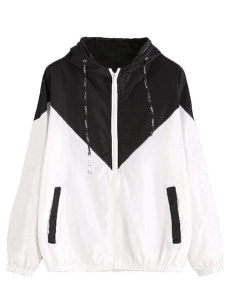 77bc5c65ec3 Milumia Women's Color Block Drawstring Hooded Zip Up Sports Jacket  Windproof Windbreaker (XS/US