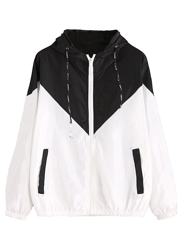 Milumia Women's Color Block Drawstring Hooded Zip Up Sports Jacket Windproof Windbreaker (XL/US 12, Black)