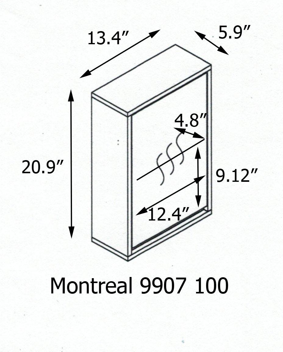EVIDECO 9907100 Wall Mounted Mirrored Medicine Cabinet Montreal White 1 Door,1 Shelf